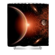 Alien Sunrise On A Distant Alien World Shower Curtain