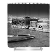 All Aboard Black And White Shower Curtain