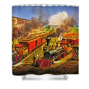 All Aboard The Lightning Express 1874 Shower Curtain