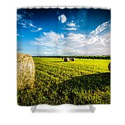All American Hay Bales Shower Curtain by David Morefield