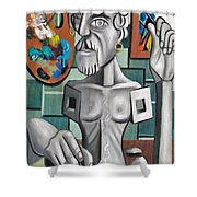 All In A Days Work Self Portrait Shower Curtain