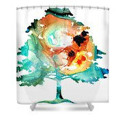All Seasons Tree 1 - Colorful Landscape Print Shower Curtain by Sharon Cummings