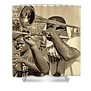 All That Jazz Sepia Shower Curtain