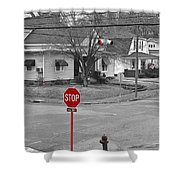 All Way Stop Shower Curtain