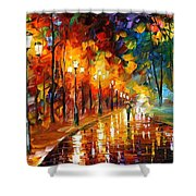 Alley Of The Memories - Palette Knife Oil Painting On Canvas By Leonid Afremov Shower Curtain