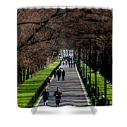 Alley Of Trees With Runners And Joggers Shower Curtain
