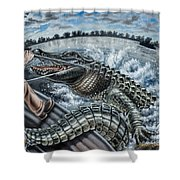 Alligator Hunt Shower Curtain
