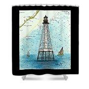 Alligator Reef Lighthouse Fl Keys Nautical Map Cathy Peek Shower Curtain