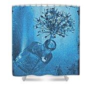 Allium Cyanotype Shower Curtain