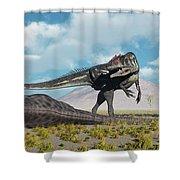 Allosaurus Dinosaurs Approaching Shower Curtain