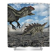 Allosaurus Dinosaurs Moving In To Kill Shower Curtain