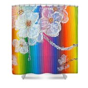 Almond Flowers On Spectrum Shower Curtain