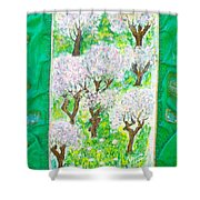 Almond Trees And Leaves Shower Curtain by Augusta Stylianou