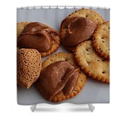 Almonds - Almond Butter - Crackers - Food Shower Curtain
