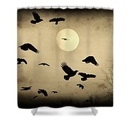 Almost Full Moon And Crows Shower Curtain