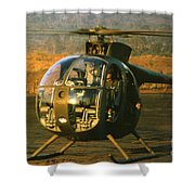 Aloha  Oh-6 Cayuse Light Observation   Helicopter Lz Oasis Vietnam 1968 Shower Curtain