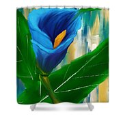 Alone In Blue- Calla Lily Paintings Shower Curtain