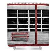 Alone - Red Bench - Windows Shower Curtain