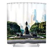 Along The Benjamin Franklin Parkway In Philadelphia Shower Curtain