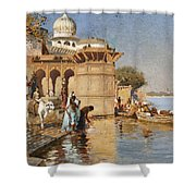 Along The Ghats Mathura Shower Curtain