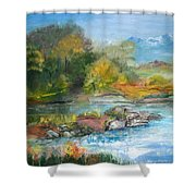 Along The Riverbank Shower Curtain