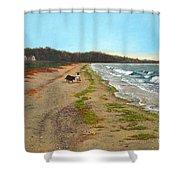 Along The Shore In Hyde Hole Beach Rhode Island Shower Curtain