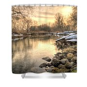 Along The Thames River  Shower Curtain