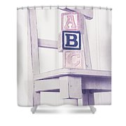 Alphabet Blocks Chair Shower Curtain by Edward Fielding