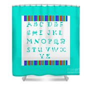 Alphabet Blue Shower Curtain