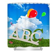 Alphabet Letters Shower Curtain by Amanda Elwell