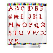 Alphabet With Multicolor Shower Curtain