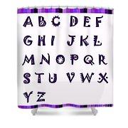 Alphabet With Purple Stripes Shower Curtain