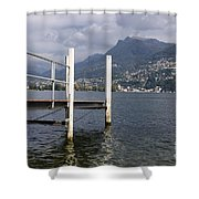 Alpine Lake And A Jetty Shower Curtain