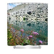 Alpine Lake And Flora Shower Curtain