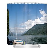 Alpine Lake With A Cypress Tree Shower Curtain