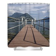 Alpine Lake With A Pier Shower Curtain