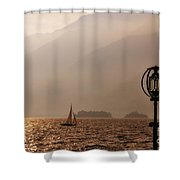 Alpine Lake With A Sailing Boat Shower Curtain