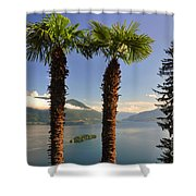 Alpine Lake With Island Shower Curtain