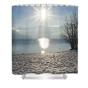 Alpine Lake With Snow Shower Curtain