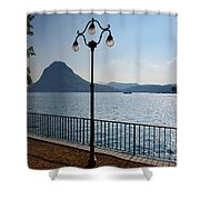 Alpine Lake With Street Lamp Shower Curtain