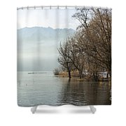 Alpine Lake With Trees Shower Curtain