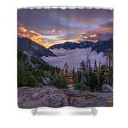 Alpine Lakes Morning Cloudscape Shower Curtain