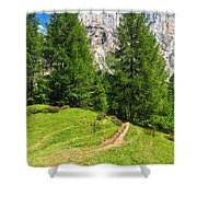 alpine path in Contrin Valley Shower Curtain