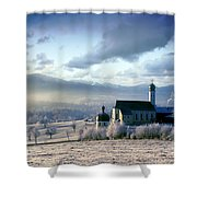 Alpine Scenery With Church In The Frosty Morning Shower Curtain