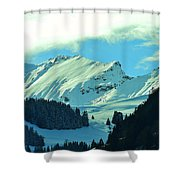 Alps Green Profile Shower Curtain