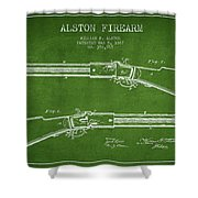 Alston Firearm Patent Drawing From 1887- Green Shower Curtain