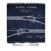 Alston Firearm Patent Drawing From 1887- Navy Blue Shower Curtain