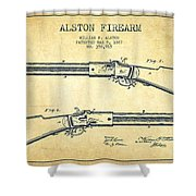 Alston Firearm Patent Drawing From 1887- Vintage Shower Curtain