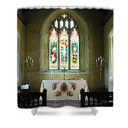 Altar And Stained Glass Window Nether Wallop Shower Curtain