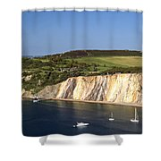 Alum Bay And The Coloured Sand Cliffs Shower Curtain